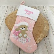 Personalised Baby Girls Pink 1st Christmas Stocking