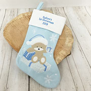 Personalised Baby Boys Blue 1st Christmas Stocking