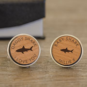 Personalised Daddy Shark Baby Shark Cherry Wood Cufflinks