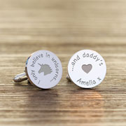 Personalised Unicorns and Daddys Silver Plated Cufflinks