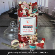 Personalised Edible Anatomy Sweets Jar Kid's Halloween Gift