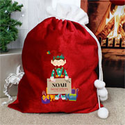 Children's Personalised Christmas Elf Luxury Pom Pom Sack