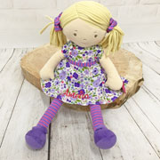Personalised Embroidered Fair Trade Baby Safe Rag Doll Peggy
