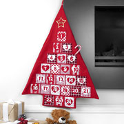 Kid's Personalised Red Fabric Christmas Tree Advent Calendar