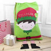 Children's Green Personalised Christmas Elf Santa Sack