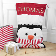 Children's Personalised Penguin Santa Sack Present Bag