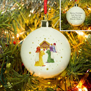 Personalised Nativity Scene Bone China Christmas Tree Bauble