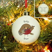 Personalised Rockin' Robin Bone China Christmas Tree Bauble