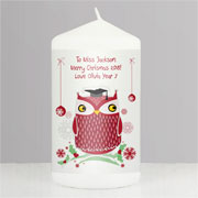 Personalised Christmas Owl Teacher Candle Appreciation Gift