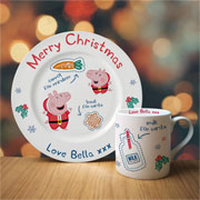 Personalised Peppa Pig Santa Treat Set China Mug & Plate