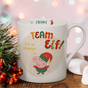 Personalised Peppa Pig Team Elf George Pig Balmoral Xmas Mug