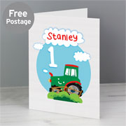 Personalised Boy's Tractor Birthday Card