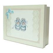 Wooden Baby Keepsake Box (Blue Booties)