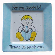'For My/Our Godchild' Celebration Plate (Blue)