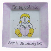 'For My/Our Godchild' Celebration Plate (Pink)
