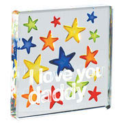 I Love You Daddy Glass Token With Stars - Free Gift Bag