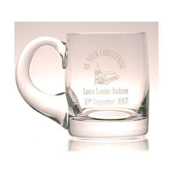Engraved Glass Baby Cup Christening Tankard