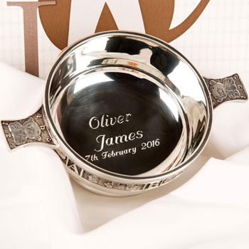 ABC Pewter Baby Christening Quaich (3.5inch)