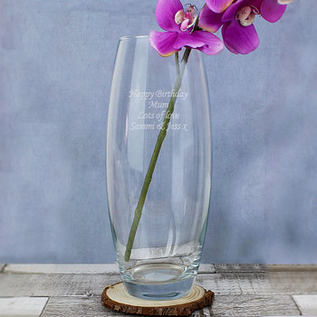 Engraved Tapered Glass Thank You Flower Vase