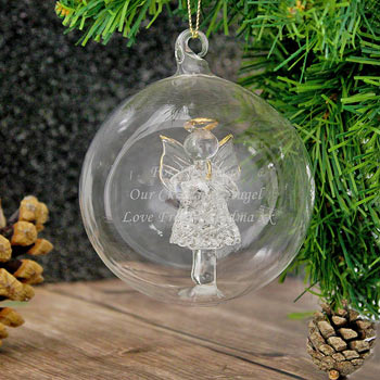 Personalised Glass Christmas Tree Bauble with Angel