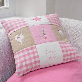 Personalised Embroidered Alphabet Baby Cushion Pink or Blue