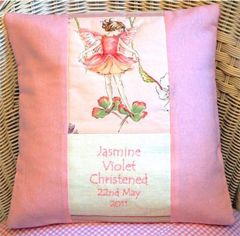 Personalised Flower Fairy Christening Cushion