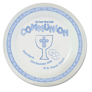 Child's Personalised First Holy Communion Plate Pink or Blue