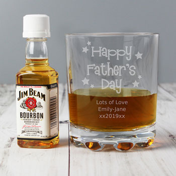 Father's Day Personalised Glass Tumbler & Jim Beam Gift Set