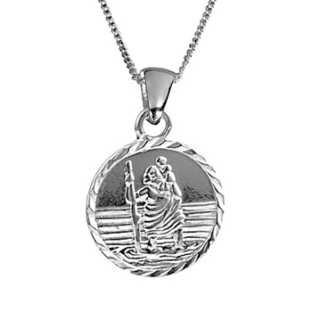 Solid Silver St Christopher Pendant with Chain