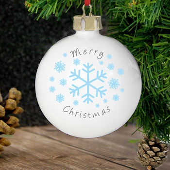 Classic Snowflake China Personalised Christmas Tree Bauble