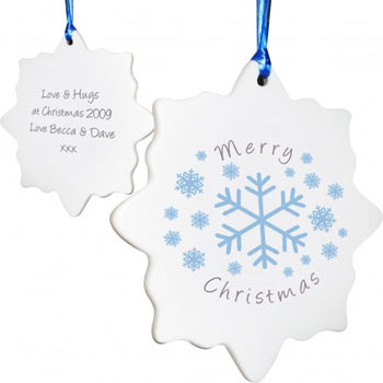 Personalised Snowflake Shaped Tree Decoration