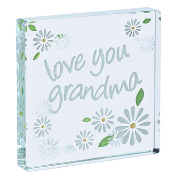 'Love You Grandma' Glass Token With Free Spaceform Gift Bag