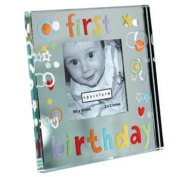 1st Birthday Mirror Frame With Free Spaceform Gift Bag