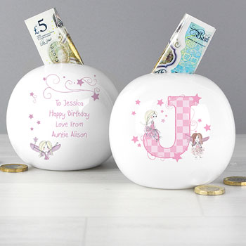Personalised Fairy Initial Letter China Money Box