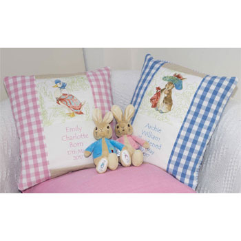 Personalised Beatrix Potter Baby Nursery Cushion