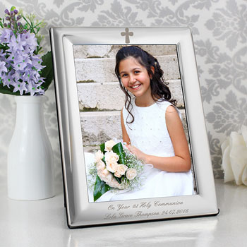 Personalised Engraved Silver Plated Cross 5x7 Photo Frame