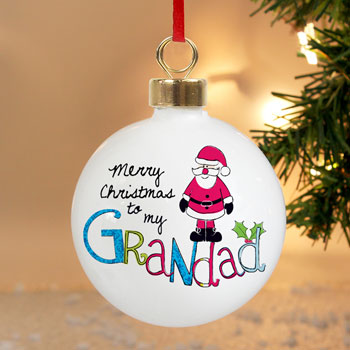 EXCLUSIVE - Merry Christmas Grandad Personalised Tree Bauble