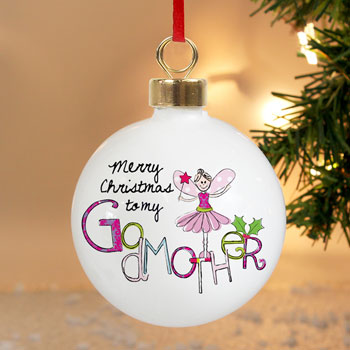 Personalised Godmother China Christmas Tree Bauble