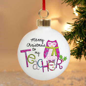 EXCLUSIVE - Teachers Personalised Christmas Tree Bauble