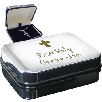 First Holy Communion box with Silver Cross Necklace