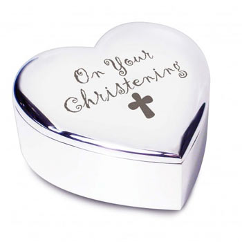 On Your Christening Silver Plated Heart Trinket Box