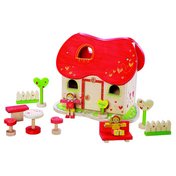 Heart Shaped Dolls House with Accessories by EverEarth