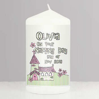 Boy or Girl's Personalised Church Pillar Candle Pink or Blue