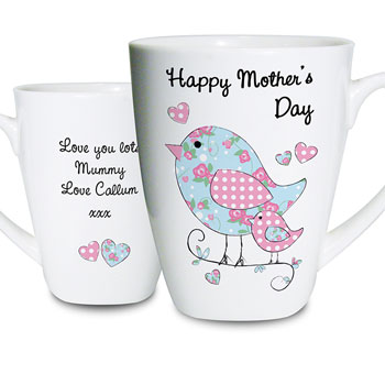 Floral Birds Personalised Latte Mug
