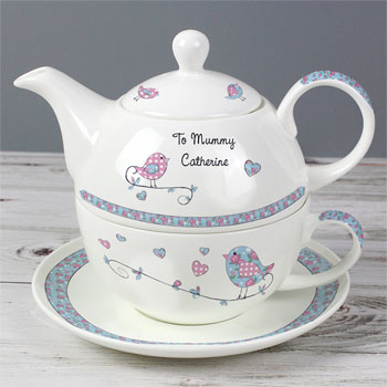 Floral Birds Personalised Tea-for-One Set