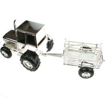 Silver Plated Tractor and Trailer Money Box