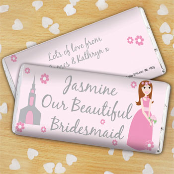 Personalised Bridesmaid Chocolate Bar - Free Delivery