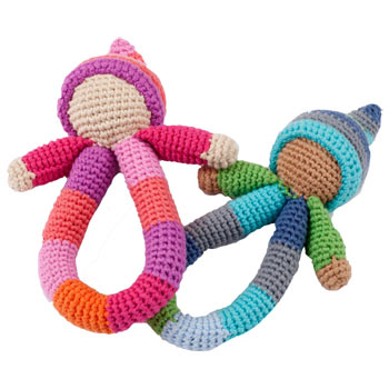 Pebble Fair Trade Organic Crocheted Pixie Ring Baby Rattle