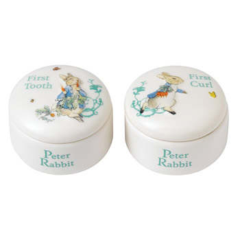 Peter Rabbit Ceramic First Curl and Tooth Pots
