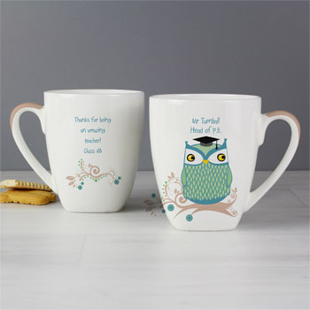 Male or Female Teacher Small Latte Personalised Owl Mug